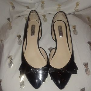 Halogen Black Patent Leather Flats w Bow